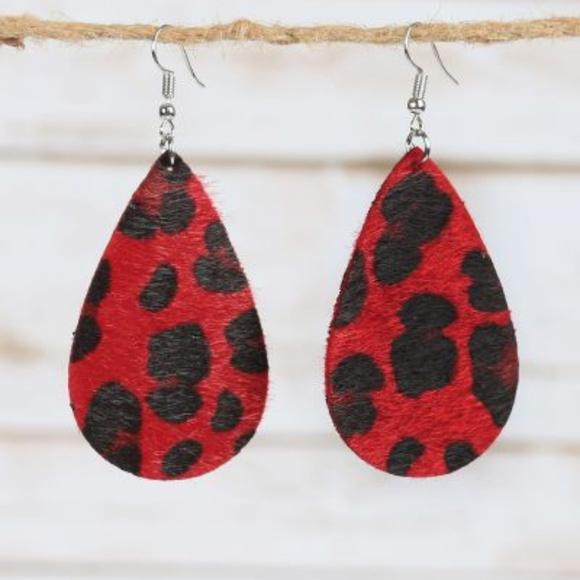 Jewelry - Red Leopard Teardrop Earrings